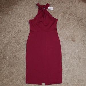 Windsor burgundy halter bodycon dress